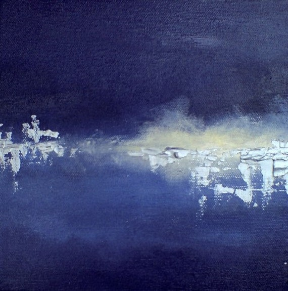 Frozen lake 7 - abstract winter landscape - oil and silver acrylic on canvas