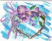 Notecard-Grapevine Heart w\/Purple Flowers