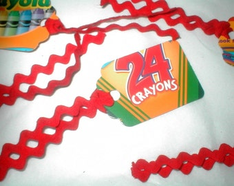 TRP - Crayon Box Tags with Vintage Rick Rack Lot of 20 upcycled recycled eco friendly