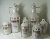 Moonlight White,GOLD LUSTERWARE CRUET Spice Jars SET 1900 Irridescent