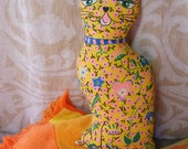 60s MOD CAT PILLOW Stuffed Animal, Yellow with Big Eyes, Jeweled Collar, Handmade Fabric Doll