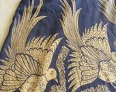 Spring Sale Vintage Boho BIRD PRINT SKIRT Wrap Around, Blue, Ecru, Cotton, Bohemian, Hippie