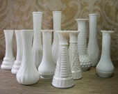 "Milk Glass BUD VASE 10 Piece Grouping Short 6"" Size for Wedding / Special Event, Small, Collection"