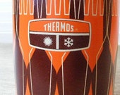 1970s ORANGE AND BROWN Thermos King-Seeley 10 Ounce Size