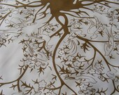 Vintage Scarf BIRDS & BRANCHES Designer Fashion 70s Brown and White