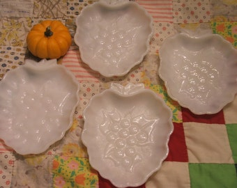 GRAPE Shape Milk Glass Plate Set of 4