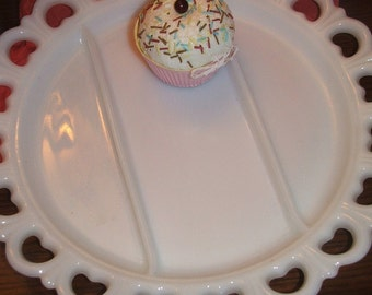 """Vintage Serving Plate Divided Milk Glass Large 13"""" Tray With Lacy Edge Wedding"""