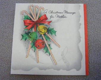 40s Christmas Card for MOM -  A Christmas Message For Mother Greeting Card Hallmark, 1943