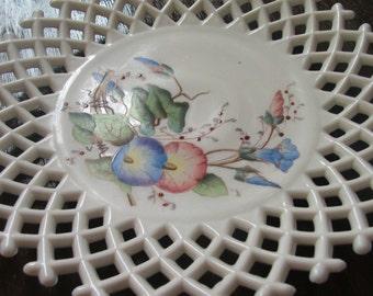 Vintage Milk Glass Plate MORNING GLORY LATTICE Decorative Hand Painted Romantic