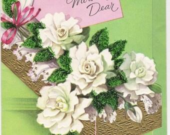 Happy Birthday Mother Dear 1950s Birthday Card Green Glitter, White Roses, Gold