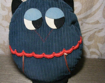 Retro 60s 70s OWL PILLOW Fabric Stuffed Mod Corduroy
