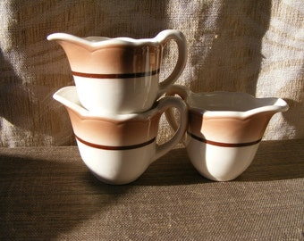 3 Piece BUFFALO CHINA Diner Creamer Set - Tan with Brown Stripe Restaurant Ware, Cafe