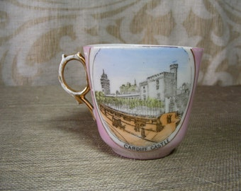 Delicate Pink China Souvenir Cup - Cardiff Castle, Llandaff Cathedral - Made in Germany