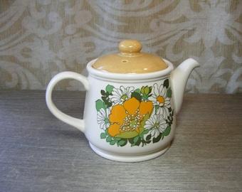 TEAPOT, SADLER Retro DAISY England, Floral, Mustard Yellow, Olive Green