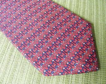 """Vintage Men's Tie REGENT BERT PULITZER Red Silk Long Tie 61"""" Necktie"""