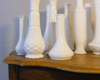 Milk Glass BUD VASE Grouping of 40 for Wedding or Special Event Large Lot, Coordinator