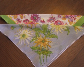 Two Floral Vintage Hankies- Gray, Yellow, Pink & Green