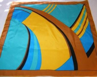 """Vintage DESERT OASIS Large Silk Scarf - Warm Brown, Gold, Teal 32"""" Golden Camel"""