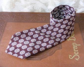 PIERRE CARDIN  Mens Tie Necktie, Paris, Silk, Brown, Peach, Ivory