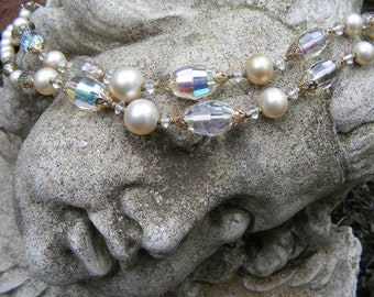 Stunning Necklace VENDOME AB Crystal & Faux Pearl Double Strand Wedding Bride Bridal