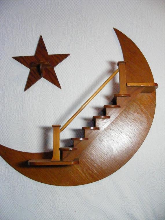 Items Similar To Vintage Folk Art 60s Moon Star Curio