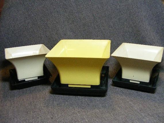 Vintage Plastic Planters Set - White, Yellow, Black With Square Shape