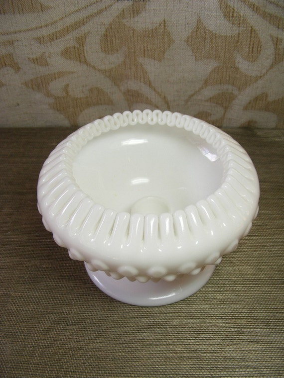 SALE Milk Glass Candle Holder Fenton Hobnail Ribboned Edge Bowl For Taper Candle