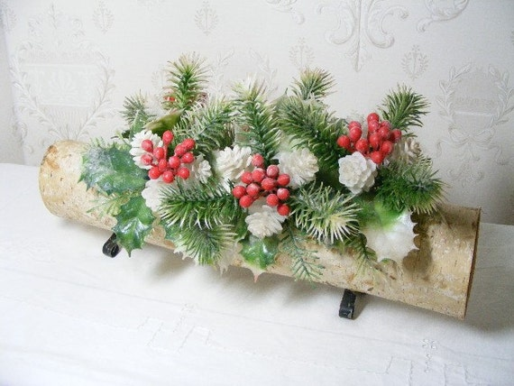 Items similar to christmas yule log centerpiece vintage