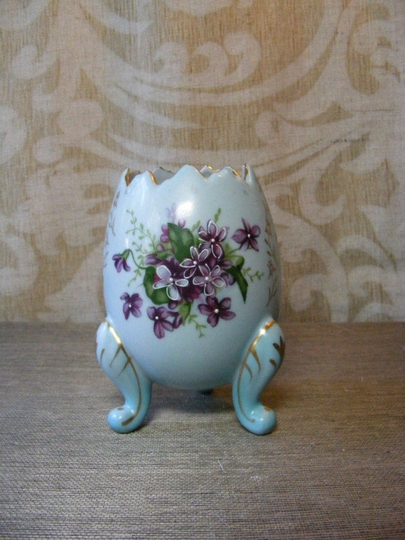 1950s VIOLETS EGG VASE Robins Egg Blue, Broken Egg, Easter, Porcelain