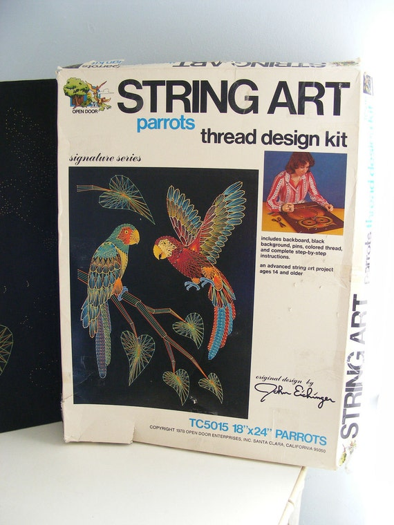 Vintage String Art Kit Parrot Large 18 X 24 70s By