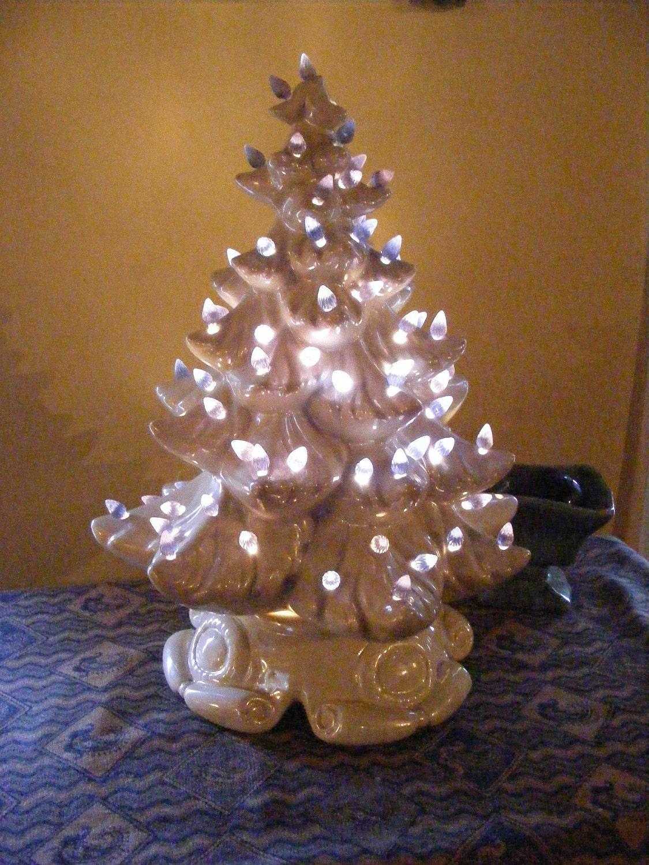 Vintage Christmas Tree White Ceramic Large Lighted Holiday