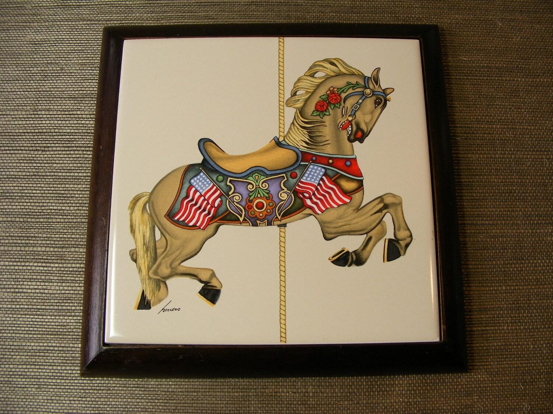 80s Ceramic Tile Trivet Carousel Horse In Wood By