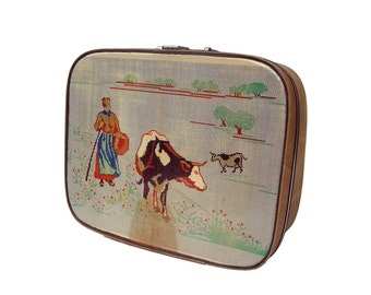 Cow Sewing Pattern up-cycled vintage Vanity Case