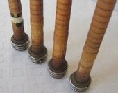 4 Vintage Wood Spinning Spools