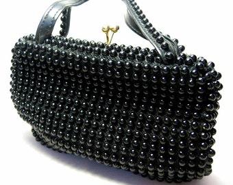 Vintage Black Beaded Purse Handbag