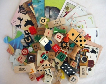 Game Pieces Vintage 60+ pieces for mixed media, altered art, reuse, repurpose