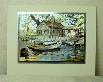 4 Vintage Color Etch Prints by Lionel Barrymore Boat and Water Scenes