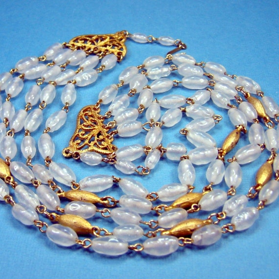 Vintage Multi Strand Glass and Metal Beaded Necklace signed TARA