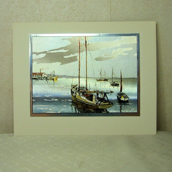 4 Vintage Color Etch Prints by Lionel Barrymore, Boat and Water Scenes