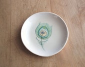 feather dish. peacock