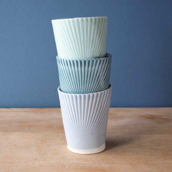 porcelain tumblers. mint. blue. teal