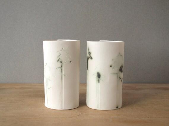 SALE black spruce porcelain tumblers