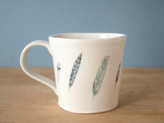 porcelain feather mug. no3