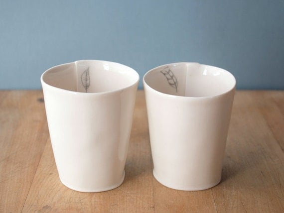 SALE 20 percent off.    feather cups. a pair