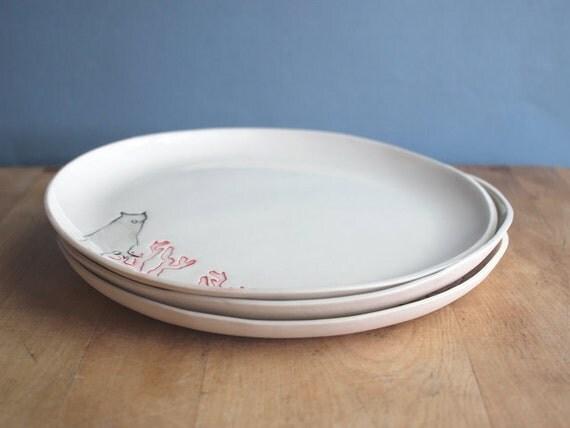 SALE 3 OWL dinner plates
