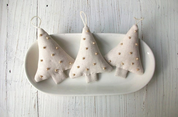 3 Sweet Linen Tree Ornaments