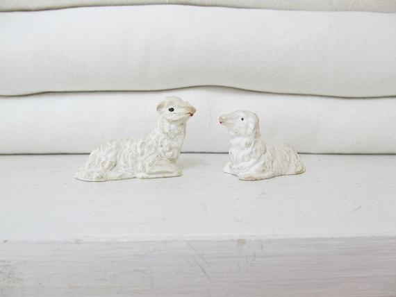 Pair of Vintage Plaster Sheep