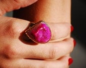 Bright Pink Druzy Agate Ring