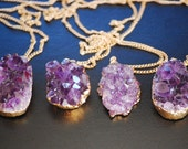 24k Gold Amethyst Cluster Agate Necklace
