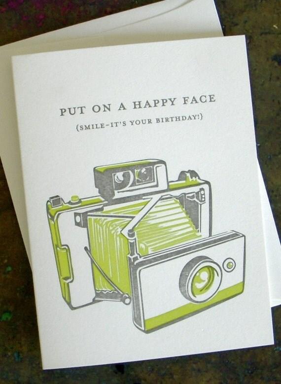 happy face-letterpress birthday card